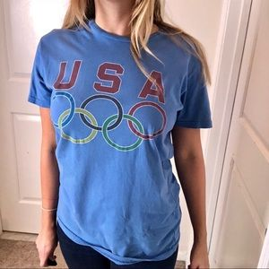 Mens USA Olympics Blue Retro Soft TShirt 🇺🇸